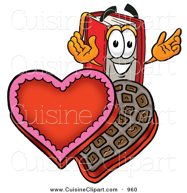 Cuisine Clipart of a Grinning Red Book Mascot Cartoon Character with an Open Box of Valentines Day Chocolate Candies