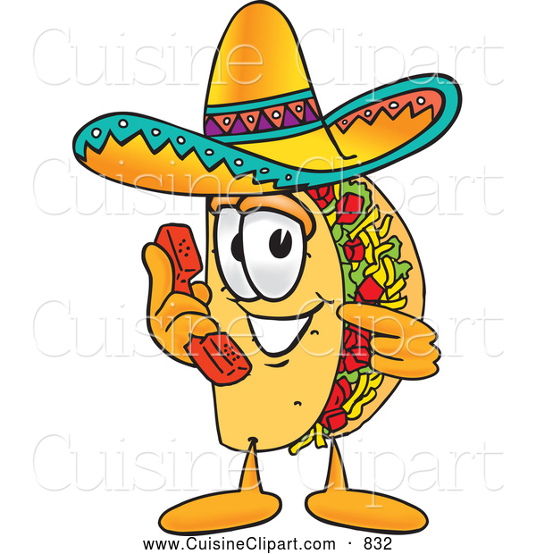 Cuisine Clipart of a Grinning Taco Mascot Cartoon Character Holding a Telephone