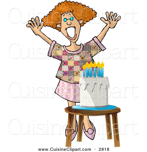 Cuisine Clipart of a Grinning Woman Standing Happily by a Birthday Cake