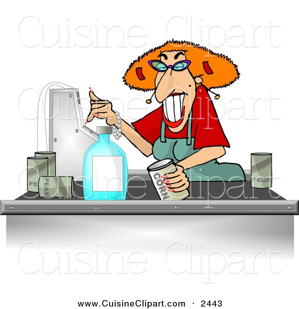 Cuisine Clipart of a Grocery Store Checkout Clerk Female Ringing up Food Items in Her Cash Register