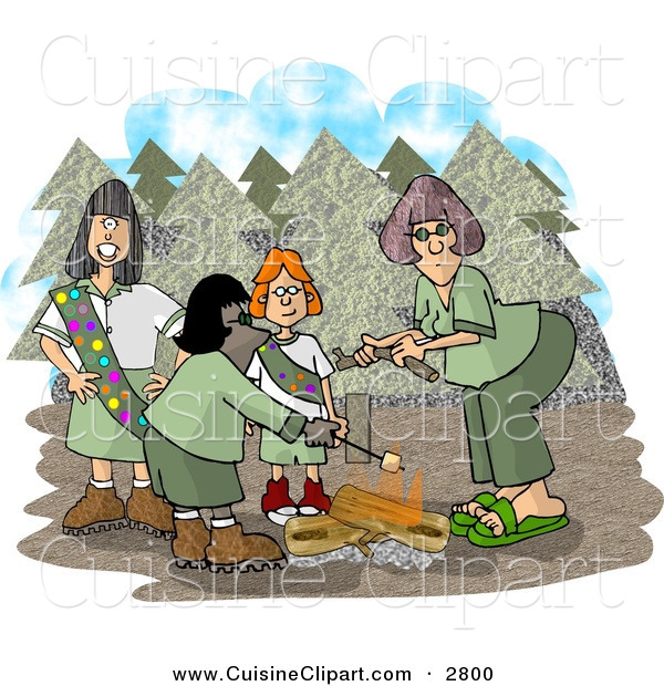 Cuisine Clipart of a Group of Girlscouts Standing Beside a Campfire in the Forest