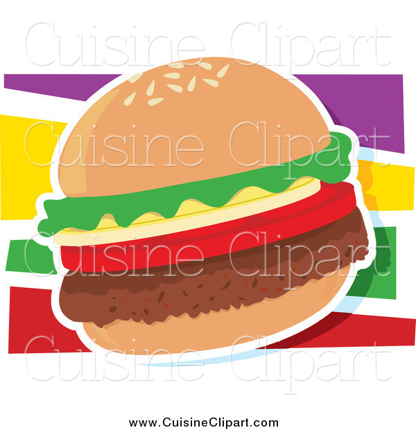 Cuisine Clipart of a Hamburger with a White Outline over Colors