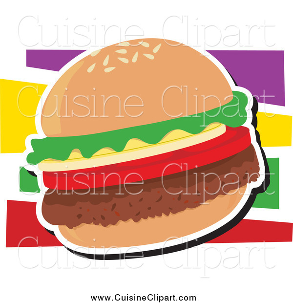 Cuisine Clipart of a Hamburger with Lettuce and Tomato