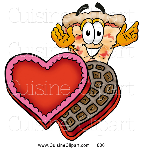 Cuisine Clipart of a Happy and Outgoing Slice of Pizza Mascot Cartoon Character with an Open Box of Valentines Day Chocolate Candies
