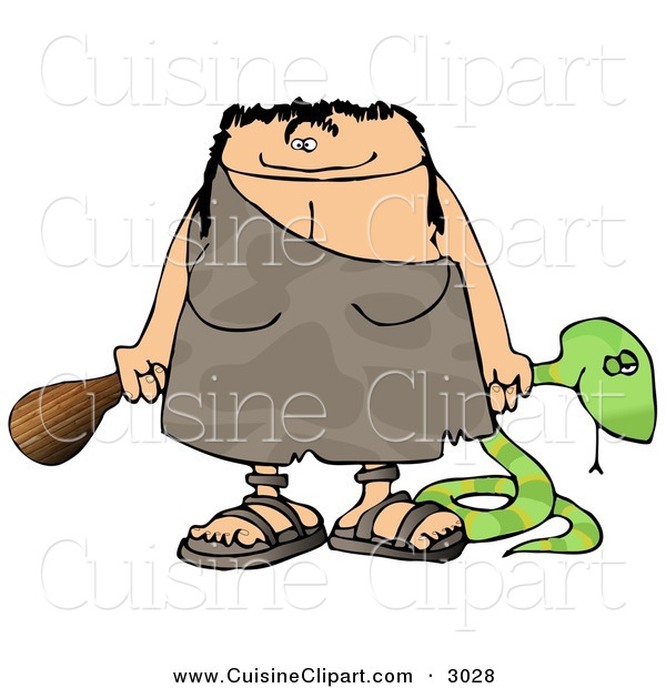 Cuisine Clipart of a Happy and Smiling Cavewoman Holding a Dead Snake and a Wooden Club