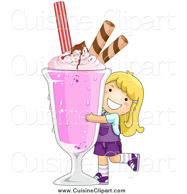 Cuisine Clipart of a Happy Blond White Girl Hugging a Giant Strawberry Milkshake
