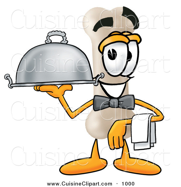 Cuisine Clipart of a Happy Bone Mascot Cartoon Character Dressed As a Waiter and Holding a Serving Platter