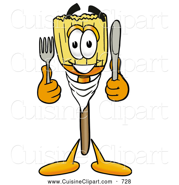 Cuisine Clipart of a Happy Broom Mascot Cartoon Character Holding a Knife and Fork