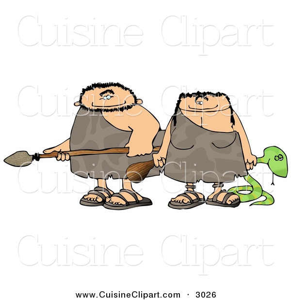 Cuisine Clipart of a Happy Caucasian Hunting Caveman and Cavewoman Armed with Weapons
