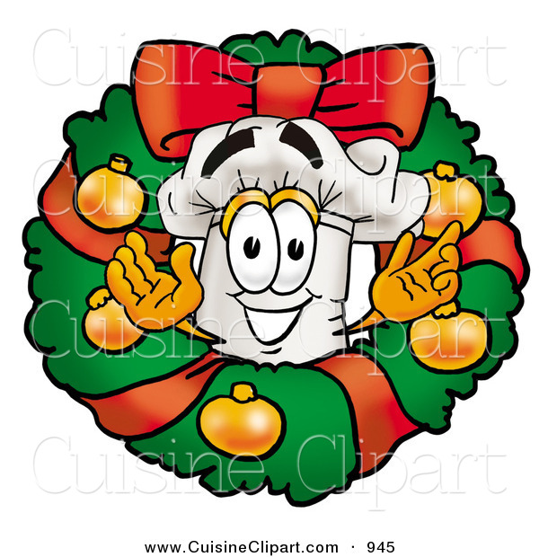 Cuisine Clipart of a Happy Chefs Hat Mascot Cartoon Character in the Center of a Christmas Wreath