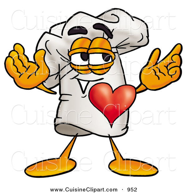 Cuisine Clipart of a Happy Chefs Hat Mascot Cartoon Character with His Heart Beating out of His Chest