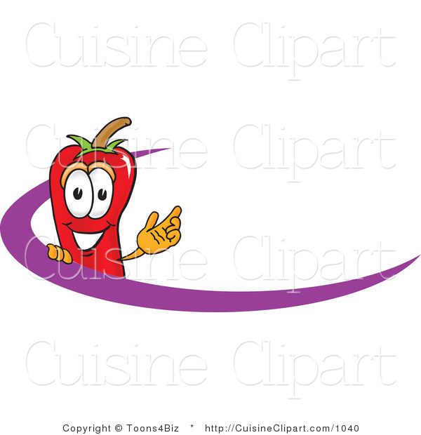 Cuisine Clipart of a Happy Chili Pepper Mascot Cartoon Character Logo with a Purple Dash