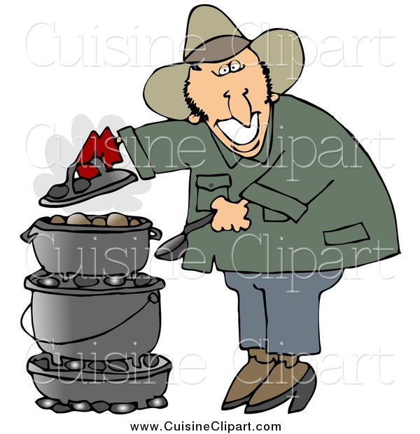 Cuisine Clipart of a Happy Cowboy Cooking on a Dutch Oven