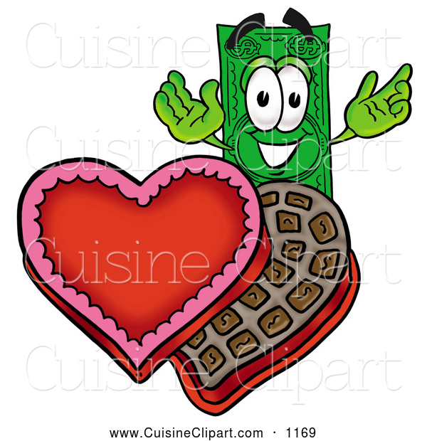 Cuisine Clipart of a Happy Dollar Bill Mascot Cartoon Character with an Open Box of Valentines Day Chocolate Candies