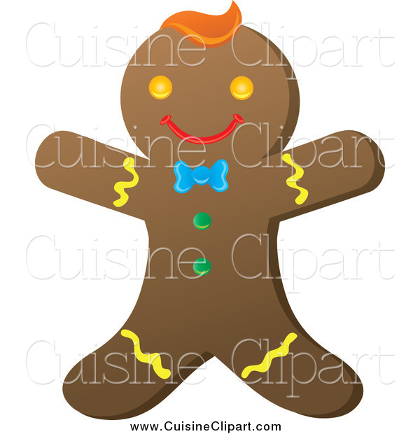 Cuisine Clipart of a Happy Gingerbread Man with Colorful Icing