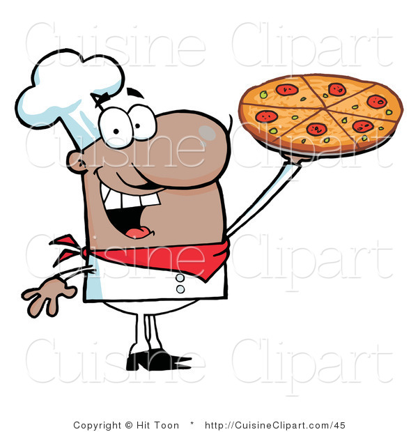 Cuisine Clipart of a Happy Hispanic Chef Holding up His Pizza Pie
