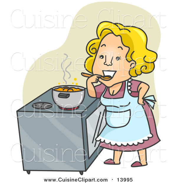 Cuisine Clipart of a Happy Home Maker Tasting Her Stew over Green
