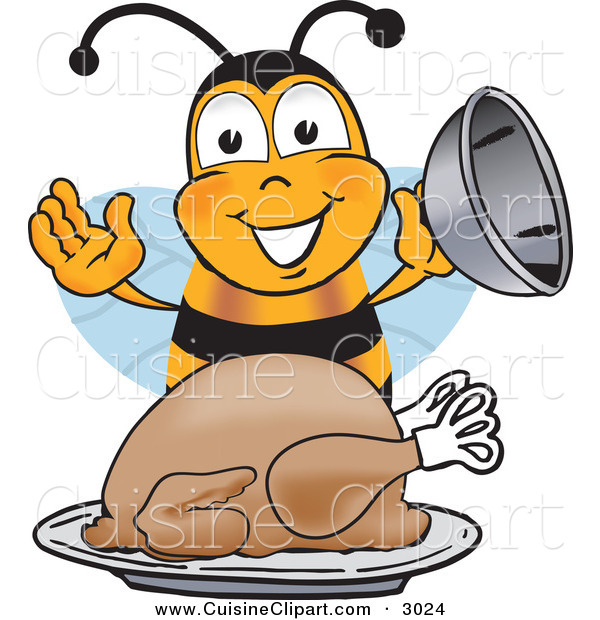Cuisine Clipart of a Happy Hungry Bee Mascot Cartoon Character Holding the Lid to a Platter with a Thanksgiving Turkey on It