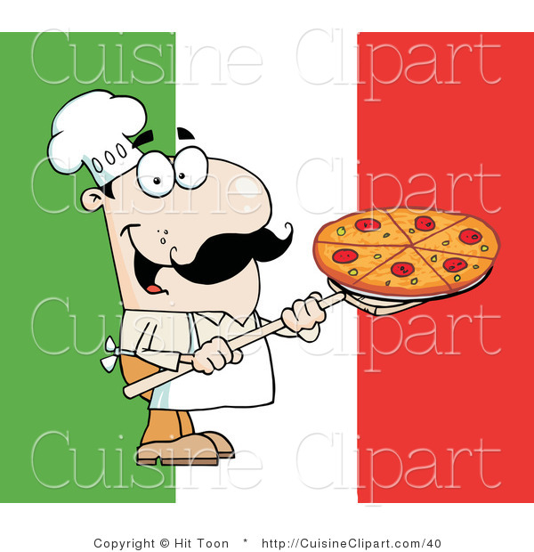 Cuisine Clipart Of A Happy Italian Pizza Chef Carrying Pie Over Flag By Hit