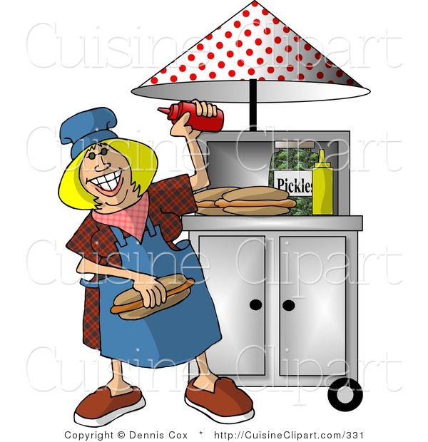 Cuisine Clipart of a Happy Lady Working at a Portable Roadside Fast Food Hot Dog Stand