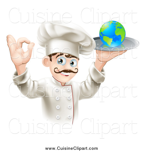 Cuisine Clipart of a Happy Male Chef Gesturing Ok and Holding a Globe on a Platter
