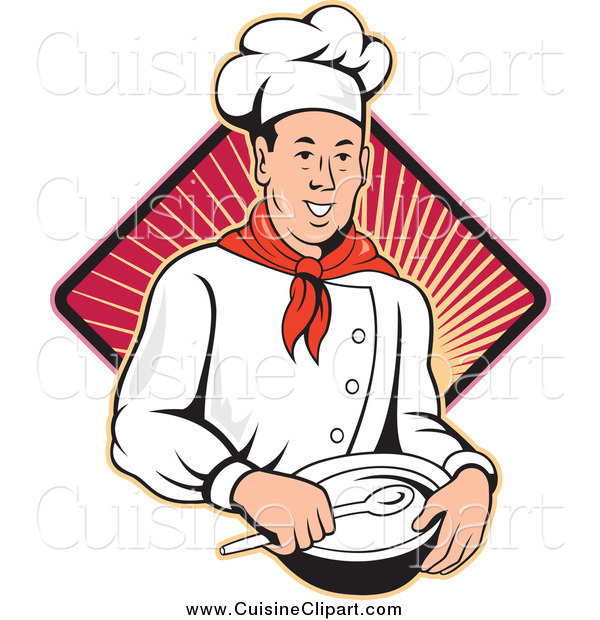 Cuisine Clipart of a Happy Male Chef Holding a Bowl and Spoon over a Ray Diamond
