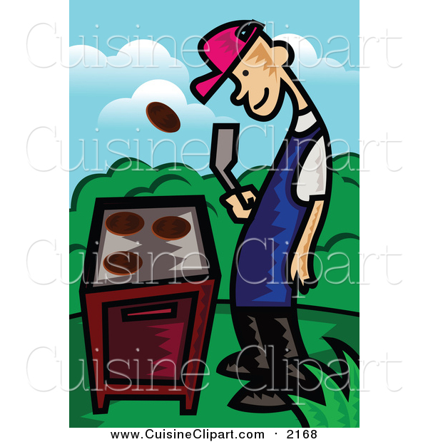 Cuisine Clipart of a Happy Man Flipping a Meat Patty over a Gas Grill