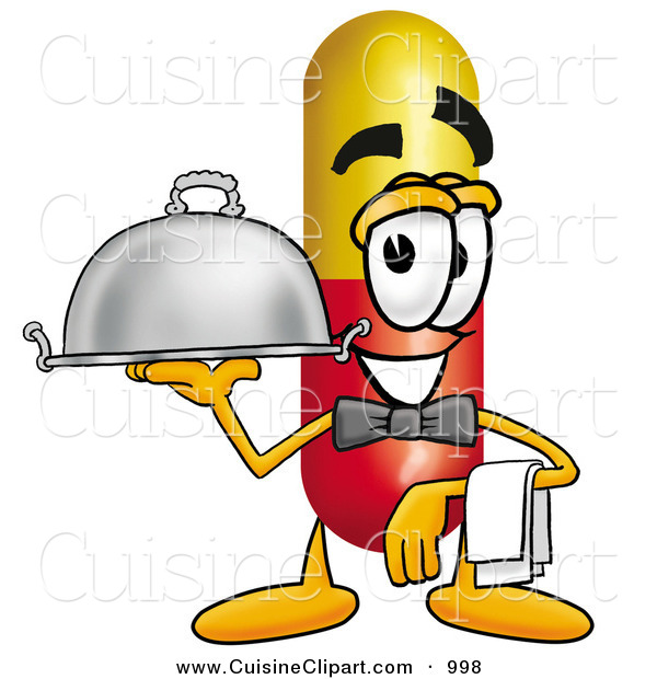 Cuisine Clipart of a Happy Medicine Pill Capsule Mascot Cartoon Character Dressed As a Waiter and Holding a Serving Platter