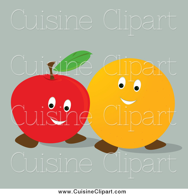 Cuisine Clipart of a Happy Orange and Apple Together