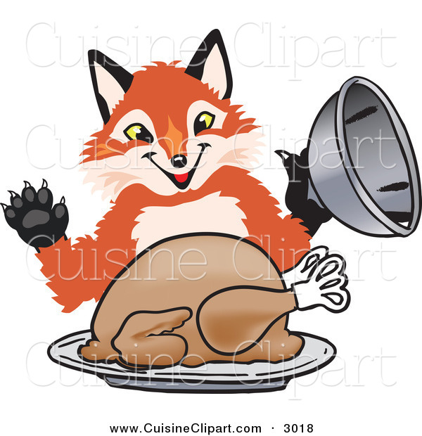 Cuisine Clipart of a Happy Orange Fox Mascot Cartoon Character Serving a Thanksgiving Turkey on a Platter