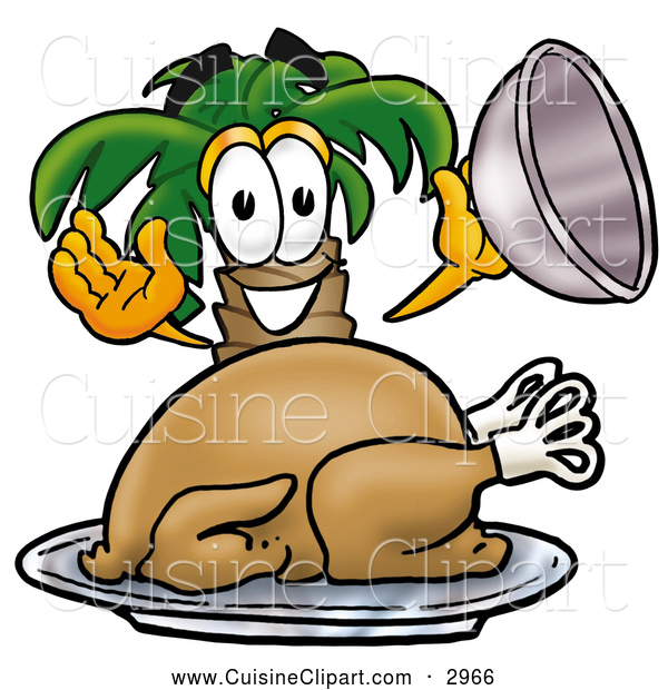 Cuisine Clipart of a Happy Palm Tree Mascot Cartoon Character Serving a Thanksgiving Turkey on a Platter