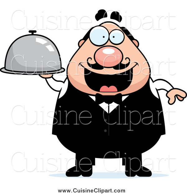 Cuisine Clipart of a Happy Plump Male Waiter Holding a Cloche Platter