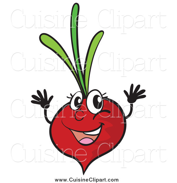 Cuisine Clipart of a Happy Radish Jumping