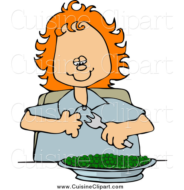 Cuisine Clipart of a Happy Red Haired White Girl Eating a Bowl of Peas