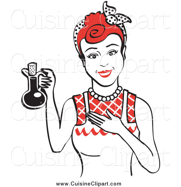 Cuisine Clipart of a Happy Red Haired Woman in an Apron, Holding up a Bottle of Cooking Oil