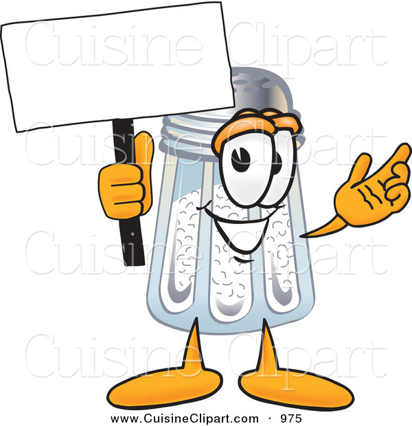 Cuisine Clipart of a Happy Salt Shaker Mascot Cartoon Character Holding a Blank Sign