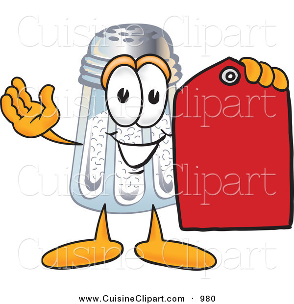 Cuisine Clipart of a Happy Salt Shaker Mascot Cartoon Character Holding a Red Sales Price Tag