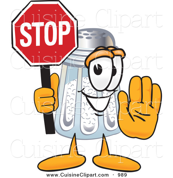 Cuisine Clipart of a Happy Salt Shaker Mascot Cartoon Character Holding a Stop Sign