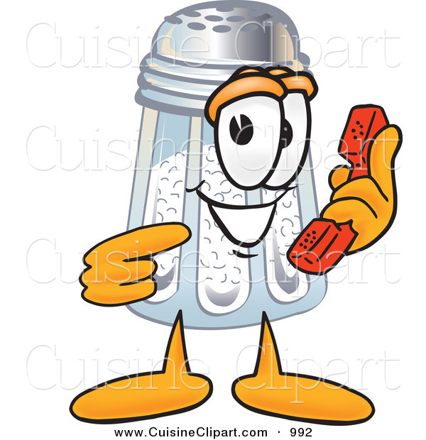 Cuisine Clipart of a Happy Salt Shaker Mascot Cartoon Character Holding a Telephone