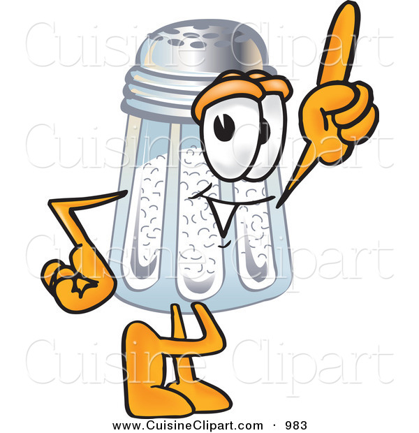 Cuisine Clipart of a Happy Salt Shaker Mascot Cartoon Character Pointing Upwards