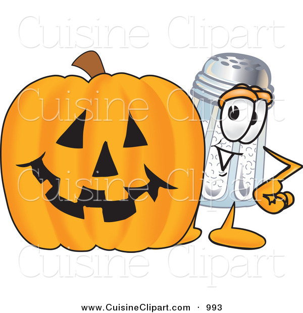 Cuisine Clipart of a Happy Salt Shaker Mascot Cartoon Character with a Carved Halloween Pumpkin