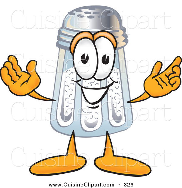 Cuisine Clipart of a Happy Salt Shaker Mascot Cartoon Character with Welcoming Open Arms