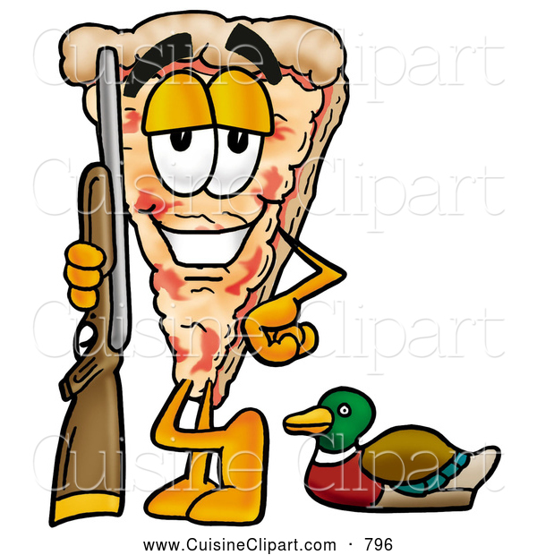 Cuisine Clipart of a Happy Slice of Pizza Mascot Cartoon Character Duck Hunting, Standing with a Rifle and Duck