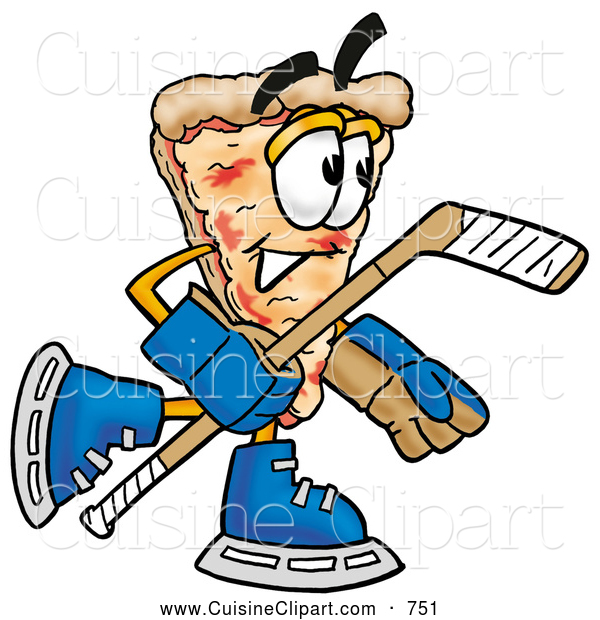 Cuisine Clipart of a Happy Slice of Pizza Mascot Cartoon Character Playing Ice Hockey