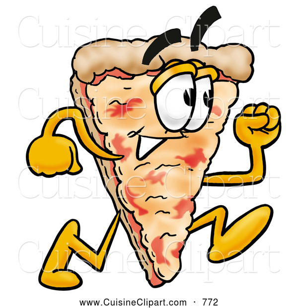 Cuisine Clipart of a Happy Slice of Pizza Mascot Cartoon Character Running