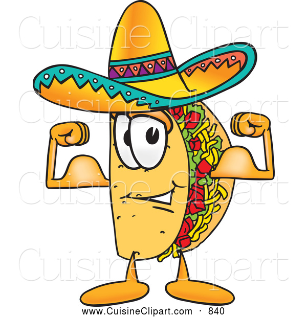 Cuisine Clipart of a Happy Taco Mascot Cartoon Character Flexing His Arm Muscles