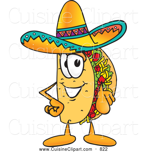Cuisine Clipart of a Happy Taco Mascot Cartoon Character Pointing at the Viewer