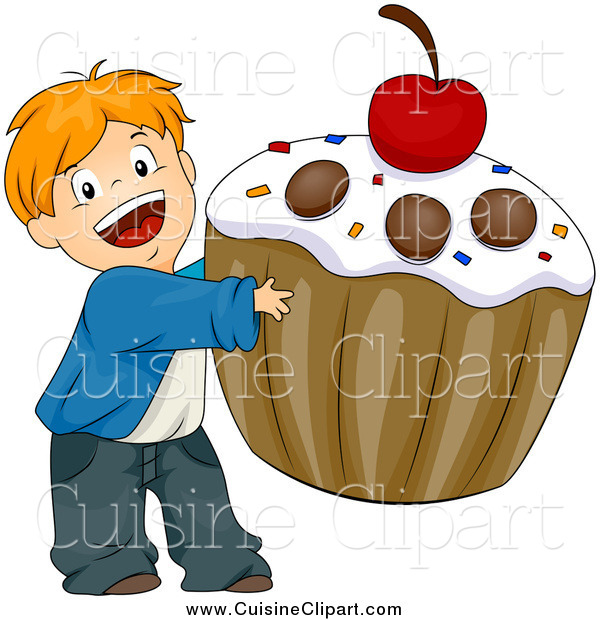 Cuisine Clipart of a Happy White Boy Carrying a Giant Cupcake