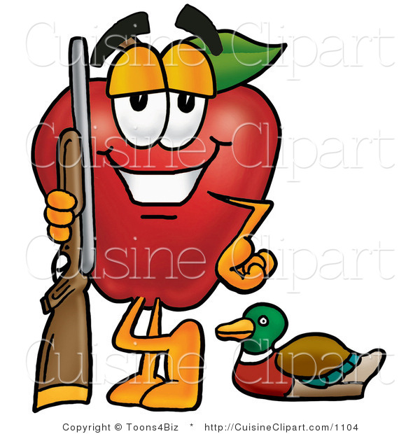 Cuisine Clipart of a Healthy Red Apple Character Mascot Duck Hunting, Standing with a Rifle and Duck