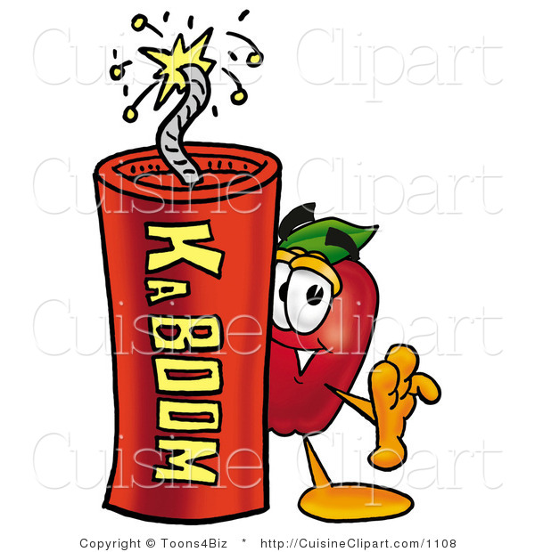 Cuisine Clipart of a Healthy Red Apple Character Mascot Standing with a Lit Stick of Dynamite Explosives